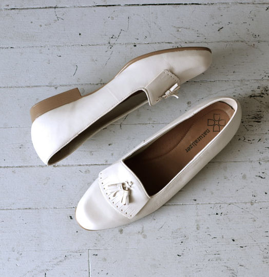 White Leather Tassel Loafers-R